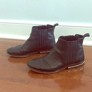 Michael Kors Black Leather Gold Chain Booties